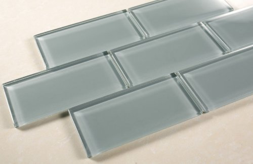 Ice Mist Glossy - 3x6 Blue Grey Glass Tile - Bathroom Tile & Kitchen Backsplash  Tile (price per square feet, 8 pieces) - Price Of Subway Tile Per Square ... - Ice Mist Glossy - 3x6 Blue Grey Glass Tile - Bathroom Tile