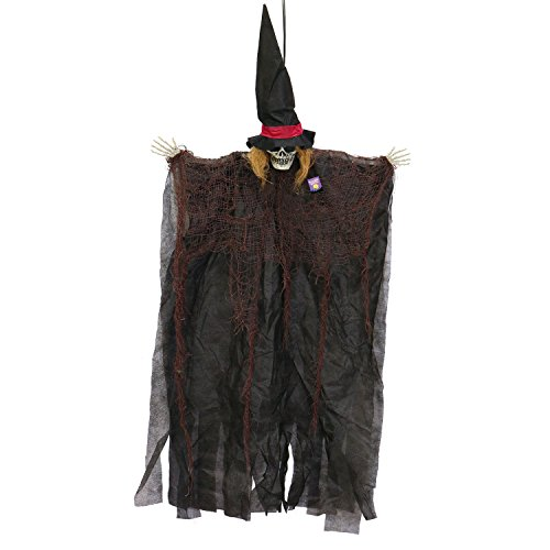 Halloween Haunters Hanging Scary Skull Witch with Black Hat Prop Decoration - Small Spooky White Skeleton Ghost Head - Haunted House Graveyard Entryway Display