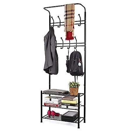 HOMFA Metal Entryway Coat Shoe Rack 3-tier Shoe Bench with Coat Hat Umbrella Rack 20 Hooks (Champagne) COMIN18JU076709