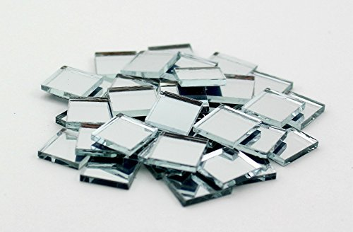Glass Mirror Craft (0.5 inch Glass Craft Mini Square Mirrors Bulk 100 Pieces Mirror Mosaic Tiles)