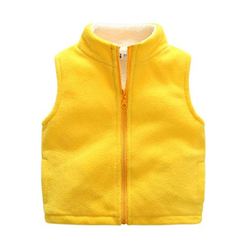 Children Vest Fleece Turtleneck Clothes for Kids Waistcoat Warm Boys Sleeveless Vest Teenager Thick Top Vest Yellow]()