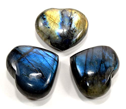 40mm Sparkling Labradorite Puffy Heart Polished Natural Feldspar Gemstone Crystal Mineral Specimen - Madagascar - Puffy Heart Large