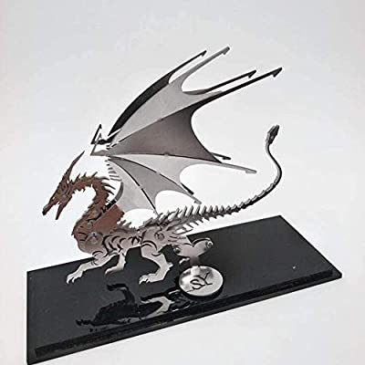 ILYO Childrens Building Blocks Steel Warcraft Fire Dragon Starship Pirate Ship Battleship Tank Full Metal Stainless Steel DIY Assembled Detachable Model Puzzle Ornaments,Aa fire Dragon: Home & Kitchen