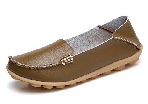 VenusCelia Women's Natural Comfort Walking Flat Loafer(6 M US,Khaki)