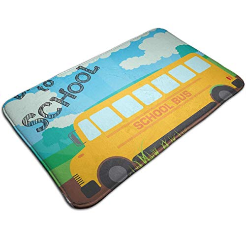 (Back to School Bus Comfortable Indoor/Outdoor Entrance Mat Doormat Non-Slip Backing Bedroom Floor Carpet Bathroom Kitchen Rug Soft Yoga Pet Pad Home Decor)