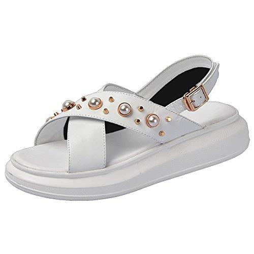de tamaño Sandalias sandalias colores las 2 femenino gruesa A del Pendiente opcional antideslizantes opcionales cuero salvajes verano Cómodo la inferior con manera de de femeninas Zapatillas mujeres aqOxAS