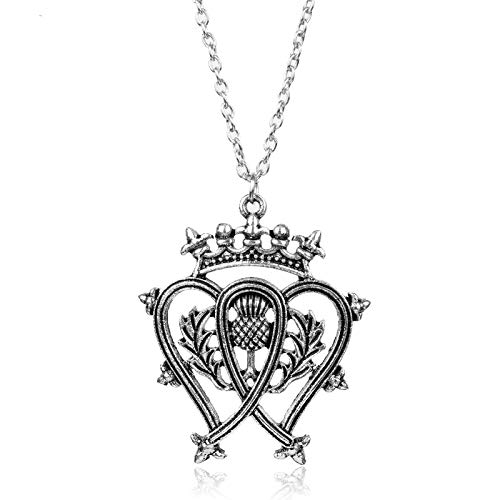 Thistle Scottish Jewellery (Nattaphol Scotland Thistle Bouquet Double Heart Scottish Crown Pendant Necklace for Women Accessory Female Jewelry Gift)