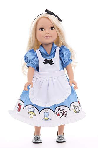 Little Adventures Alice with Headband Princess Doll Dress Blue