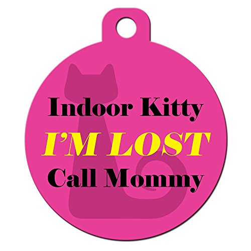 Big Jerk Custom Products Ltd Cute Cat Pet ID Tag - Indoor Kitty I'm Lost Call Mommy - Personalize Col. by Big Jerk Custom Products Ltd