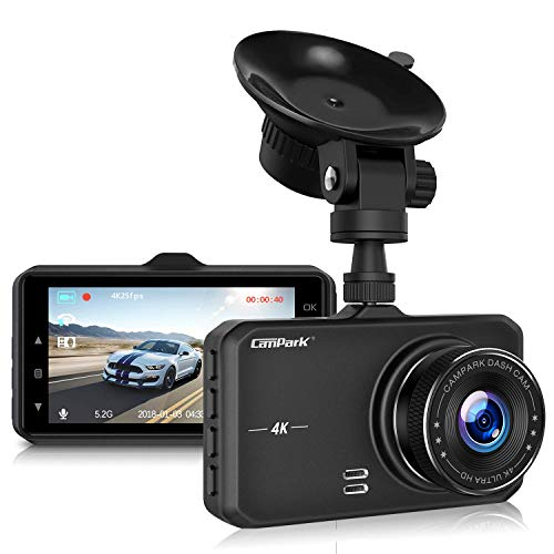Campark DC10 Dash Cam 4K UHD DVR Driving Recorder Camera for Cars Dashboard with 3 LCD 170 Wide Angle Night Vision G Sensor Parking Monitor WDR Motion Detection