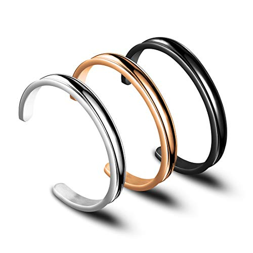Zuo Bao Hair Tie Bracelet High Polishing Stainless Steel Grooved Cuff Bangle for Women Girls (Silver-Black-Rose Gold)
