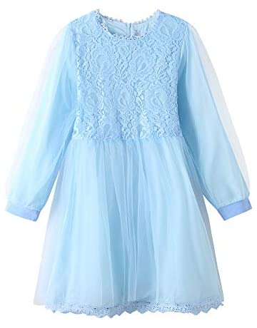0193d494b94 YUEXIN Big Girls Lace Flower Tulle Dress Kids Party Dance Outfits Evening  Gowns Blue