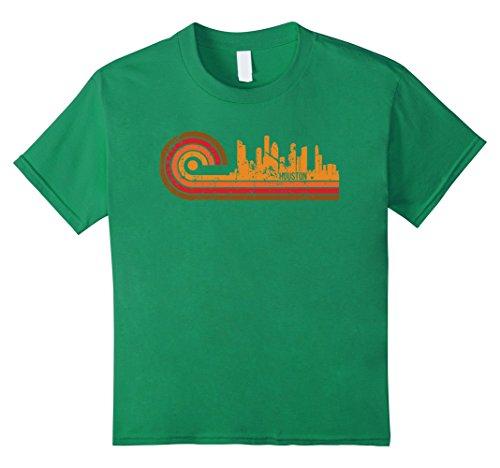 Kids Retro Style Houston Texas Skyline T-Shirt 6 Kelly Green - Green Vintage Tee