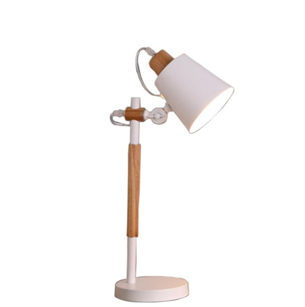 GL&G European-style LED energy-saving lamps home decoration bedroom bedside lamp creative modern solid wood protection eye reading lamp (irradiation area of 10-20 square meters),White,4316CM