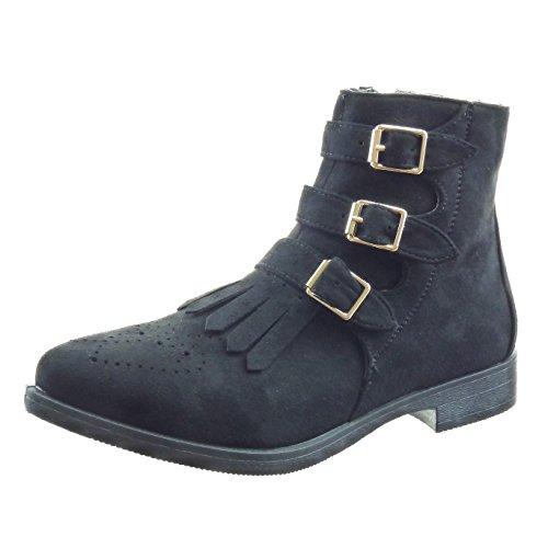 Sopily - Zapatillas de Moda Botines A medio muslo mujer Hebilla perforado Talón Tacón ancho 3 CM - Negro