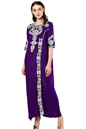 bai Kaftan for Women Half Sleeve Arabic Long Dress Abaya Islamic Clothing Girls Caftan Jalabiya ()