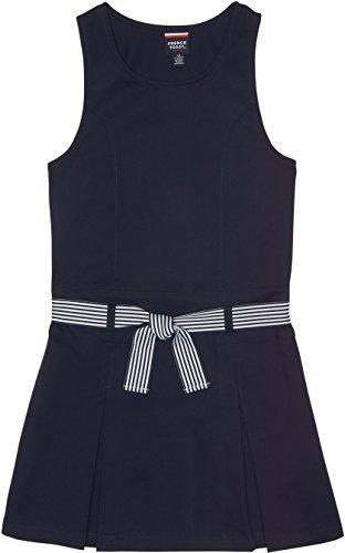 French Toast School Uniform Girls Belted 2-Pleat Jumper, Navy, (Twill Jumper)