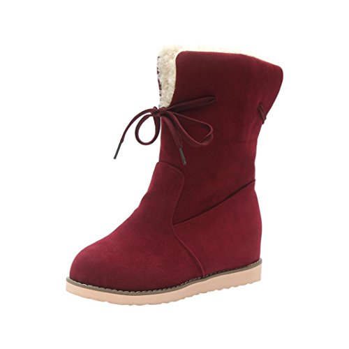 Creazy Ladies Womens Low Wedge Biker Ankle Trim Flat Ankle Warm Martin Boots Shoes (Wine Red, 38)