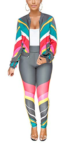 HannahZone Women Square Two Piece Tracksuit Long Sleeve Striped Jacket Pants Set Outfit (Outfit Jacket Set)