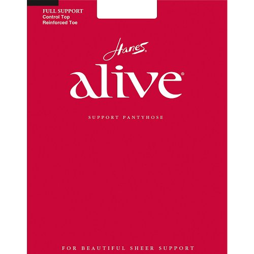 Hanes Alive Womens Nylon Full Support Reinforced Toe Sheer Pantyhose (Pack of 3), F, Barely Black