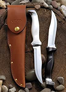 """Model 1769 CUTCO Hunting Knives with leather sheaths. 5-3/8"""" High Carbon Stainless Double-D® serrated blade and classic dark brown or white (pearl) Highly Engineered Thermo-Resin handles"""