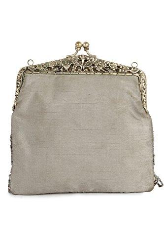 MyBatua Khloe Silver Brass Frame Swinging Fringe Handbag ACP-052