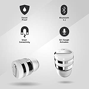 Rowkin Mini Plus+ True Wireless Earbud, Bluetooth Headphone w/Mic. Smallest Cordless Hands-free Stereo Earphone Headset w/Charging Case for Android and iPhone (BUY 2 for Stereo Sound) - Silver