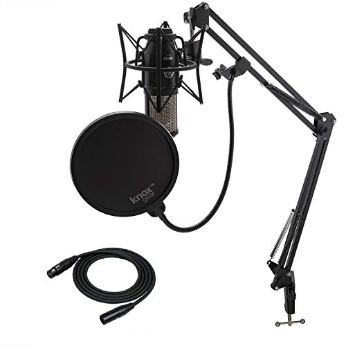 - AKG P220 Condenser Microphone with Knox Gear Studio Stand, Pop Filter and XLR Cable