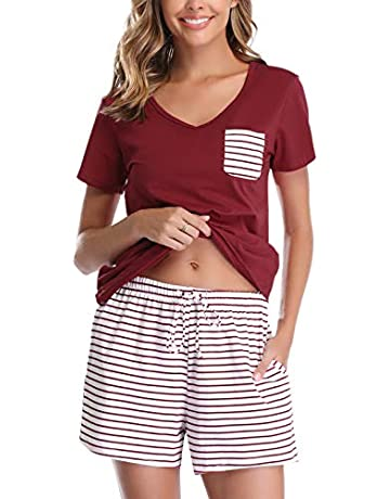 306555f040 Vlazom Women's Pajama Sets V-Neck Short Sleeve Pjs Set Striped Solid  Sleepwear with Pockets
