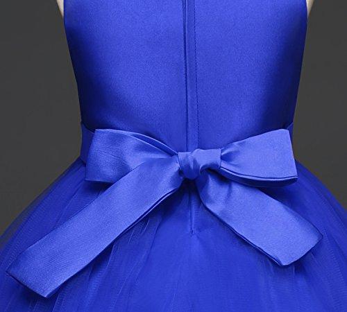 Tulle Mousseline Sans Manches Nnjxd Anniversaire Bal De Soirée De Mariage Fille Fleur Robe De Princesse Bleue