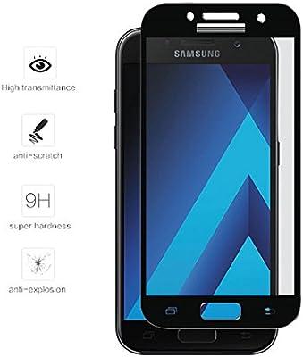 Tumundosmartphone Protector Cristal Templado Frontal Completo Negro para Samsung Galaxy A5 (2017) Vidrio: Amazon.es: Electrónica