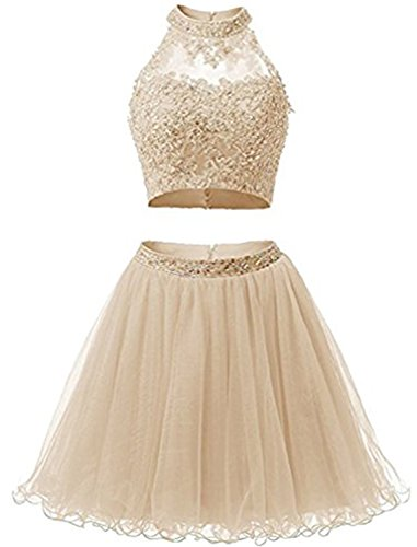 que Prom Gowns Beaded Two Pieces Homecoming Dresses EL0044 10 Champagne ()
