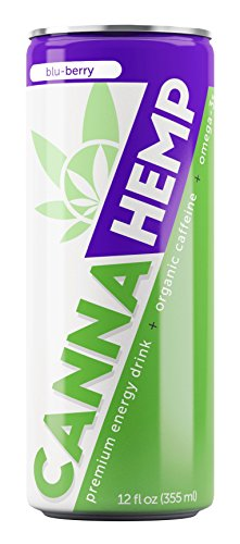 418uIO T7ML - Canna Hemp Energy Drink - Blu-Berry, 40 calories - 12 Pack - Organic Energy - Omega-3s - All Natural Flavors, Colors and Sweeteners - 50 mg of REAL Hemp Seed oil - Vegan & Gluten Free!