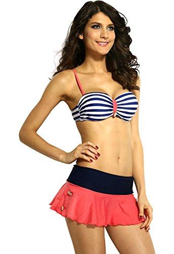 DarlingLove Women's Retro Style Stripe Padded Beachwear Bikini Skirt L