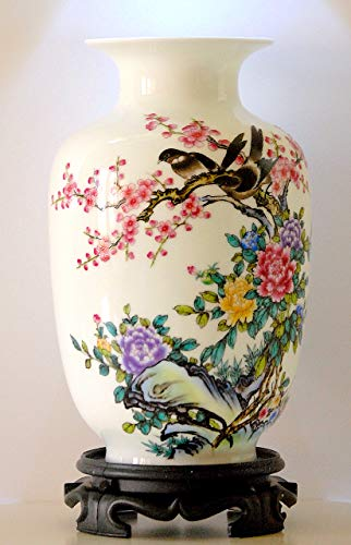 "White Porcelain Vase 9"", Chinese Painting (Flower and Bird) Patterns, Famille Rose Porcelain, Home Décor, Oriental Craftwork, Color: White, Red, Yellow, Green, Purple, Blue, Chinaware"