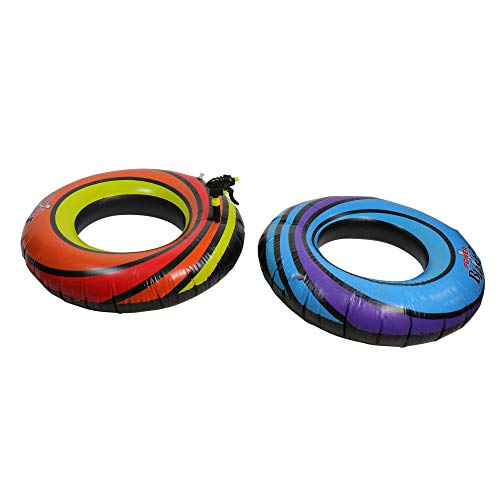 Swim Central Set of 2 Blue and Orange Water Sports Inflatable Power Blaster Pool Inner Tube Squirters, 40-Inch