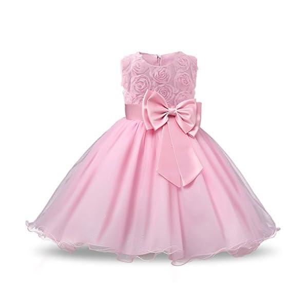 NNJXD Vestito Cerimonia Bambina,Ragazza Gonna a Fiori in Pizzo 3D Senza Maniche Vestito da Principessa delle Feste 1