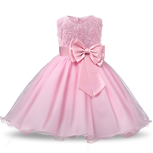 NNJXD Girl Sleeveless Lace 3D Flower Tutu Holiday Princess Dresses Size 7-8 Years Pink