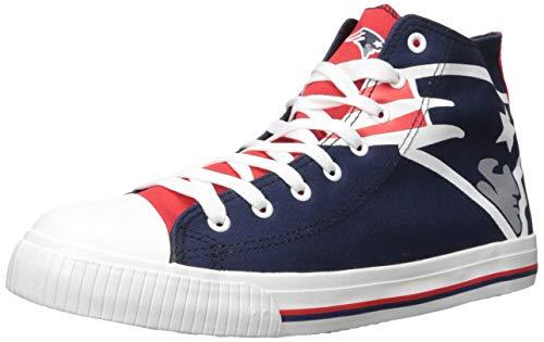 FOCO NFL New England Patriots Men's High Top Big Logo Canvas Footwear, Team Color, X-Large