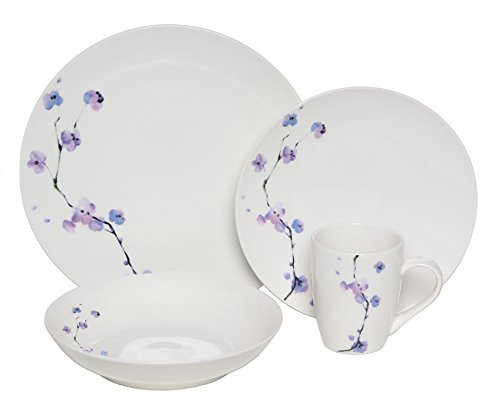 Melange Coupe 32-Piece Porcelain Dinnerware Set (Purple Zen) | Service for 8 | Microwave, Dishwasher & Oven Safe | Dinner Plate, Salad Plate, Soup Bowl & Mug (8 Each) - Collection 8 Piece Dinner Plates