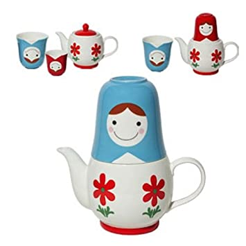Miya Company Japanese Blue Matroshka Stackable Tea For Two