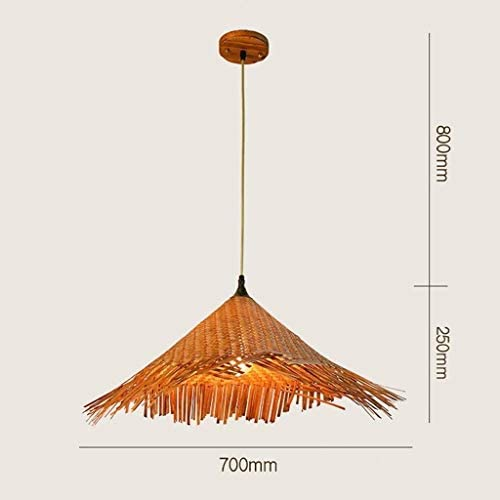 TJLSS Bamboo Chandelier Retro Light Fixtures Wicker Light Fixtures Chandelier Ceiling Lamp Farmhouse Pendant Light