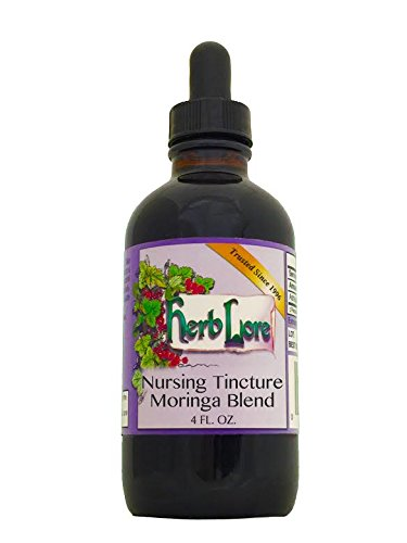 Herb Lore Organic Nursing Tea Tincture With Moringa. Alcohol Base, 4 Ounces, Lactation Tea Helps Increase Breast Milk Supply Naturally And Calms Colic And Gas in Baby and Mama