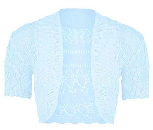 Janisramone Womens Ladies New Crochet Knitted Bolero Shrug Short Cap Sleeve Open Cardigan Crop Top