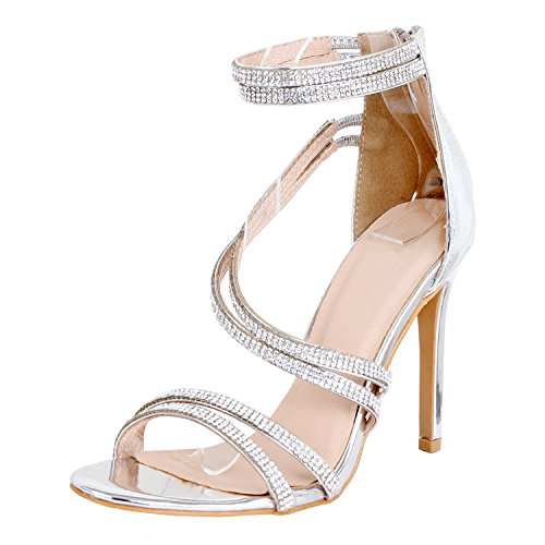 Guilty Shoes - Women Sexy Metallic Ankle Strap Zip up Dress - Open Toe Stiletto Sandals Sandals, Silverv3 Pu, 9 B(M) US