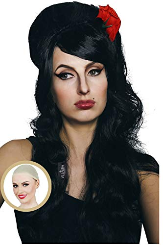 Amy Winehouse Wig + Red Flower + Wig Cap + Heat Resistant Beehive Long Black Curly Costume Wigs Snooki Women -