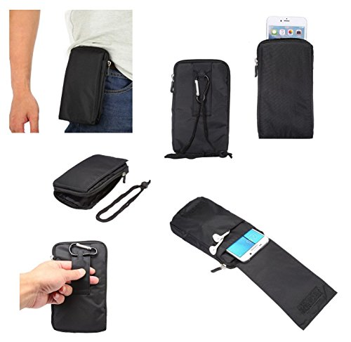 418uLK-%2BzaL DFV mobile - Multi-functional Universal Vertical Stripes Pouch Bag Case Zipper Closing Carabiner for => TECNO CAMON CX AIR > BLACK XXM (18 x 10 cm).