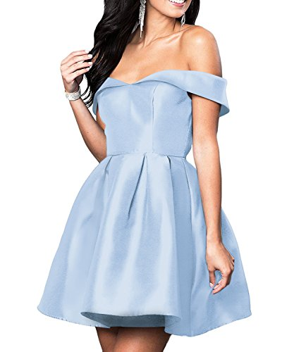 VinBridal Off Shoulder Short Ball Gown Satin Homecoming (Indigo Satin Bridesmaid Dress)