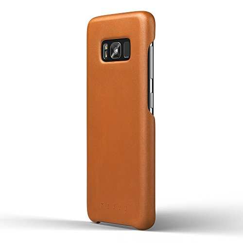 Mujjo Full Leather Case for Samsung Galaxy S8 | Premium Genuine Leather, Natural Aging Effect | Super Slim, Leather Wrapped, Wireless Charging (Tan)
