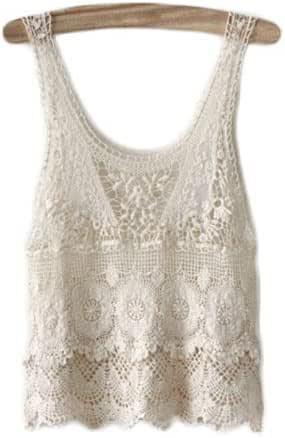 Boho Mujeres Hippie Encaje Crochet Verano Camisetas sin Mangas Floja Ocasional Camisa de la Blusa